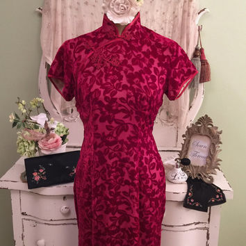 70s Velvet Cheongsam, Silk Bohemian Dress, Red Burnout Wiggle, 1970s Asian Dress, Old Hollywood Glam, Vintage Beauty, Stunningly Chic!