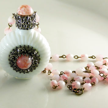 Vintage Czech Milk Glass Perfume Bottle Necklace, Mottled Peach with matching chain