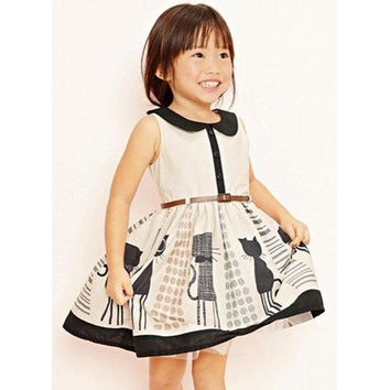 Cute Sleeveless Peter Pan Collar Buttoned Cat Print Girl's A-Line Dress
