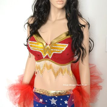 Gold Beaded Wonder Woman Bra With Shorts and Tutu