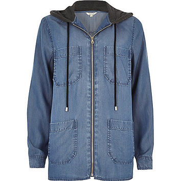 Denim look hooded shacket - shirts - tops - women