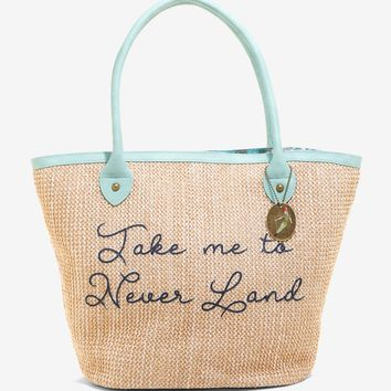 Licensed cool Her Universe Disney Peter Pan Mermaid Lagoon Straw Faux Leather Tote Bag Purse
