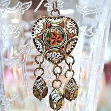 1920s Micro Mosaic Pendant Millefiori Glass Art Deco Heart Dangle Pendant Floral Glass Beads Italy Italian Florentine Art Hand Crafted