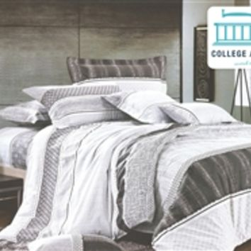 Silver Dusk Twin XL Comforter Set - College Ave Designer Series Comforters For College Girls Dorm Stuff