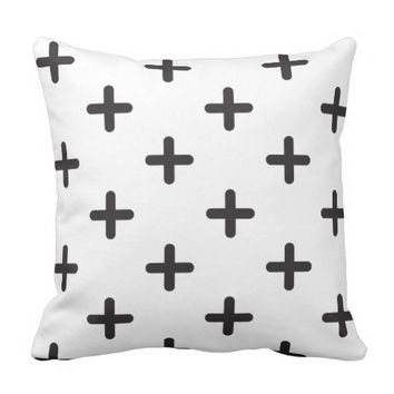Modern Black Cross Pattern Throw Pillow