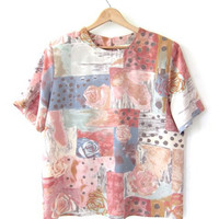 vintage boxy top. short sleeve top. pastel colors. abstract print.