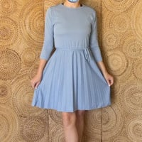 Vintage Pleated Shirt Dress- Midi Dress - Mid Length Secretary Dress