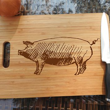 ikb324 Personalized Cutting Board Wood pork pig meat food restaurant