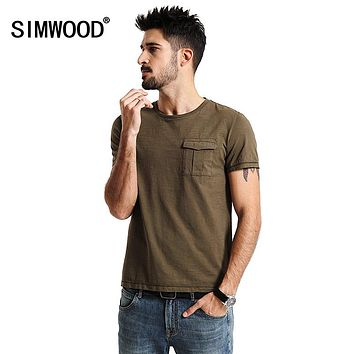 SIMWOOD 2017 Spring Summer New Arrival T Shirts Men 100% Pure Cotton Pocket Short Sleeve Tees TD1154