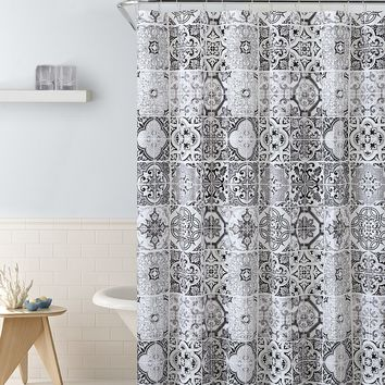 "Royal Bath Mosaico Mandala Burst PEVA Non-Toxic Shower Curtain - 72"" x 72""with 12 Matching Roller Hooks"