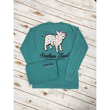 Christmas Lights Proud Pig Long Sleeve Tee {Seafoam}