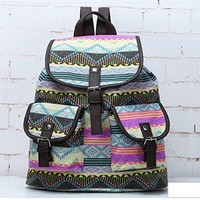 Fashion Women Ladies Ethnic Pattern Backpack Rucksack Multicolor
