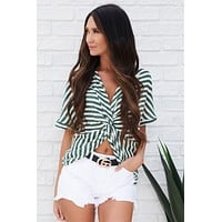 Emilia Striped Twist Back Top (Forest Green)
