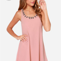 LULUS Exclusive Bead Me Up Beaded Blush Dress