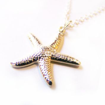 Dainty Silver Starfish Pendant Nautical Sterling Silver Necklace /  Gift for Her