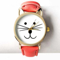 Ladies Cat Watch in Bright Pink Coral