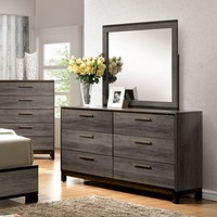 Jurado Contemporary 6-Drawer Dresser and Mirror in Antique Grey