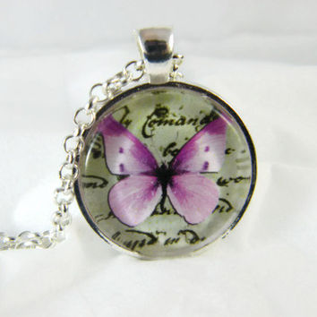 Butterfly Necklace , Glass Art Pendant , Picture Pendant , Photo Pendant , Pendant Necklace