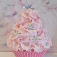 Pastel Pink Winter Wonderland Fake Cupcake Photo Prop with Snowflakes and Fairy Dust, Pink Christmas, Party Decorations, Ornaments, Gifts