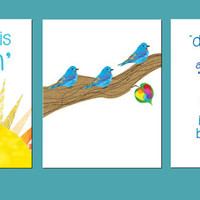 """Printables Three little Birds SET of 3 8x10"""" Instant download, Don't Worry, COLORFUL ART, Bob Marley inspired,A Perfect Gift"""