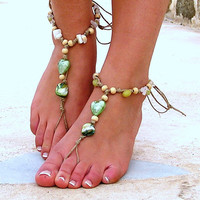Barefoot Sandals Barefoot Beach Jewelry Green Seashells Hippie Sandals Foot Jewelry Toe Thong