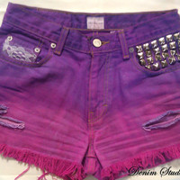 Vintage Calvin Klein High Waist Denim Shorts, Dyed Purple & Pink