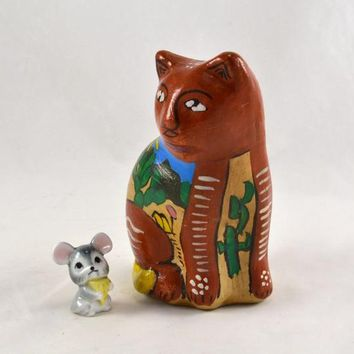 Cat Figurine - Mexico Clay Hand Painted Colorful and Scenic Mexican Folk Art