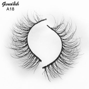 Genailish Mink Lashes 3D Mink Eyelashes Handmade Natural Super Quality False Eyelashes 1 pair Fake Eye Lash for Makeup-A18