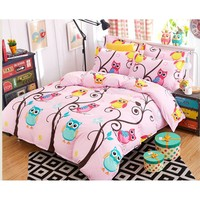 Happy owl Bed Pillowcases Duvet Cover Set Quilt Cover Set Twin Queen King Size 1PC Comforter Cover/2 PCS Pillow Covers