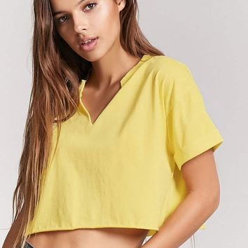 Split-Neck Cuffed Sleeve Tee