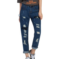 Punk Style   Jeans Ripped Jeans High Waisted Holes Distressed Tassel Patchwork Street Denim Trousers Plus Size S-2XL