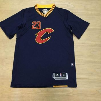 KUYOU Cleveland Cavaliers LeBron James Dark Blue with Champion chapter 100% Authentic Jersey