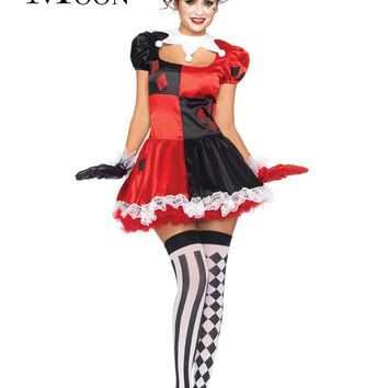 MOONIGHT Harley Quinn Costume Funny Clown Circus Cosplay Carnival Halloween Costumes For Women Performance Party Dress
