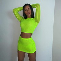 BKLD Neon Green Two Piece Sexy Mesh See through Long Sleeve Crop Tops+Bodycon Skirt Sets 2019 Summer Women Fashion Party Outfits