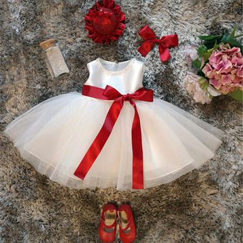First Year Birthday Newborn Dress Christening Sleeveless Little Girl Baby Ribbon Frocks Designs Infant Newborn Vestido Clothes