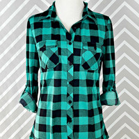 Country Backwoods Flannel - Teal/Black