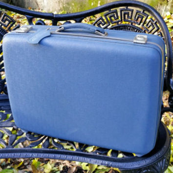 American Tourister Marine Blue 20 Inch Suitcase Blue Quilted Satin Lining