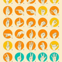 AMERICAN SIGN LANGUAGE HAND ALPHABET Art Print by Jazzberry Blue
