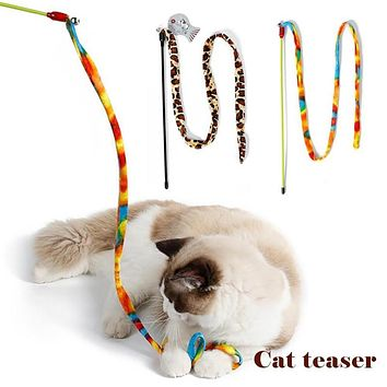 Rainbow Leopard Dangler Pet Cat Teaser Wand Rod Bell Kitten Play Chaser Toy