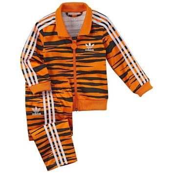 Adidas Firebird Tiger Track Suit Orange Black G69616 Kids Baby Jacket Pants Set (Size 12 Months)