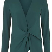 Tuck Drape Front Blouse - Teal