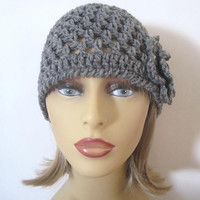 Grey Flower Beanie Hat, Womens Hat, Crochet Hat, Grey Hat