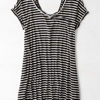 AEO Women's Striped T-shirt Dress (Black)