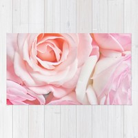 pink roses Rug by sylviacookphotography