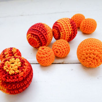 Crochet beads, wooden beads, orange beads, set of ten, handmade beads, jewelry making supplies, cute beads, hand beading, crochet covered