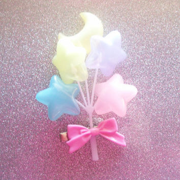 Pastel Moon and Star Balloons Hair Clip
