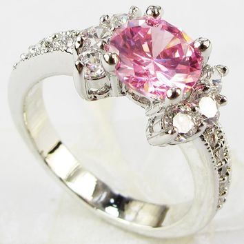 Fashion 925 sterling silver Ring 3ct Size 6-9 amazing Princess cut Pink Sapphire & Topaz Engagement Ring