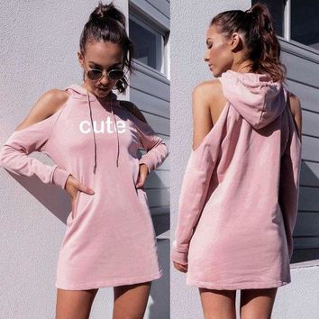 DCCKVQ8 Women Casual Fashion Letter Print Hollow Long Sleeve Middle Long Section Hooded Sweater Dress