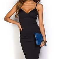 Halle Black Spaghetti Strap Bodycon Midi Party Dress