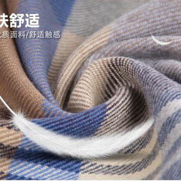 Fashion Men Scarf Winter Autumn Men Scarves Long Wraps Shawls Thick Plaid Men's Scarf Warm Cotton Cashmere Wool Scarf